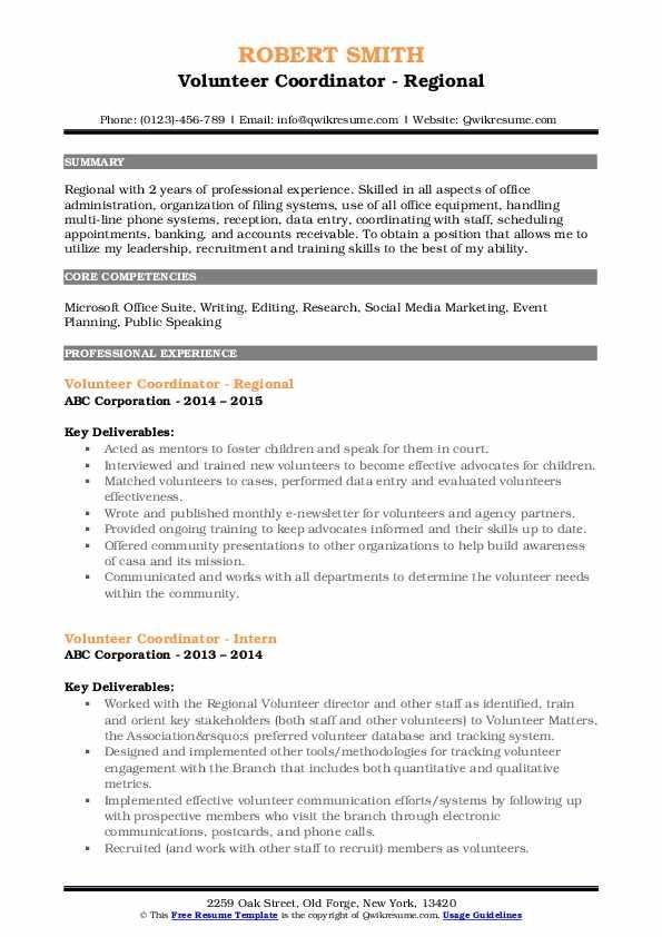 Volunteer Coordinator - Regional Resume Model