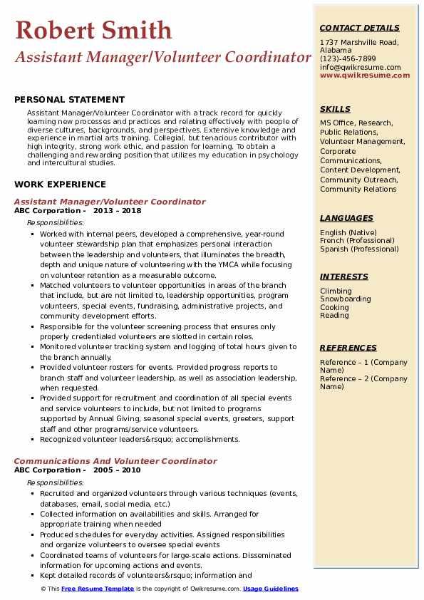 Assistant Manager/Volunteer Coordinator Resume Example