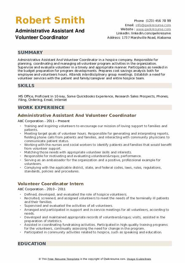 Volunteer Coordinator Resume Samples Qwikresume