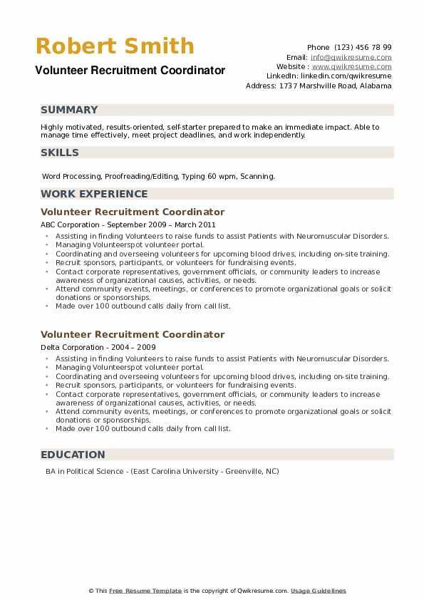 Volunteer Recruitment Coordinator Resume example