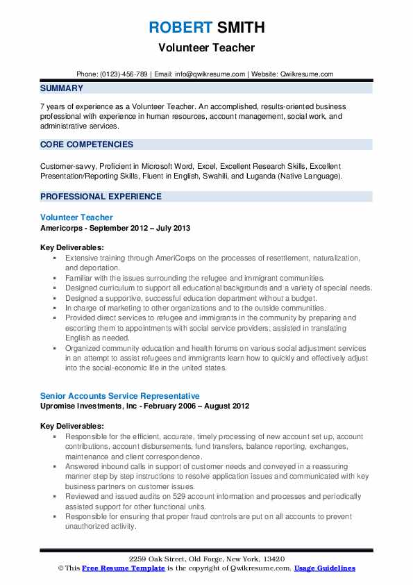 Volunteer Teacher Resume Samples Qwikresume