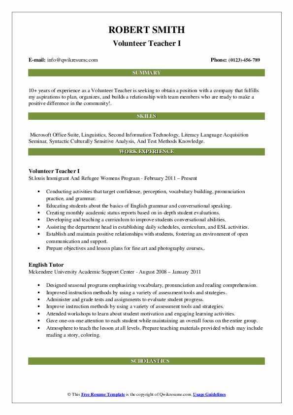 volunteer teacher resume samples