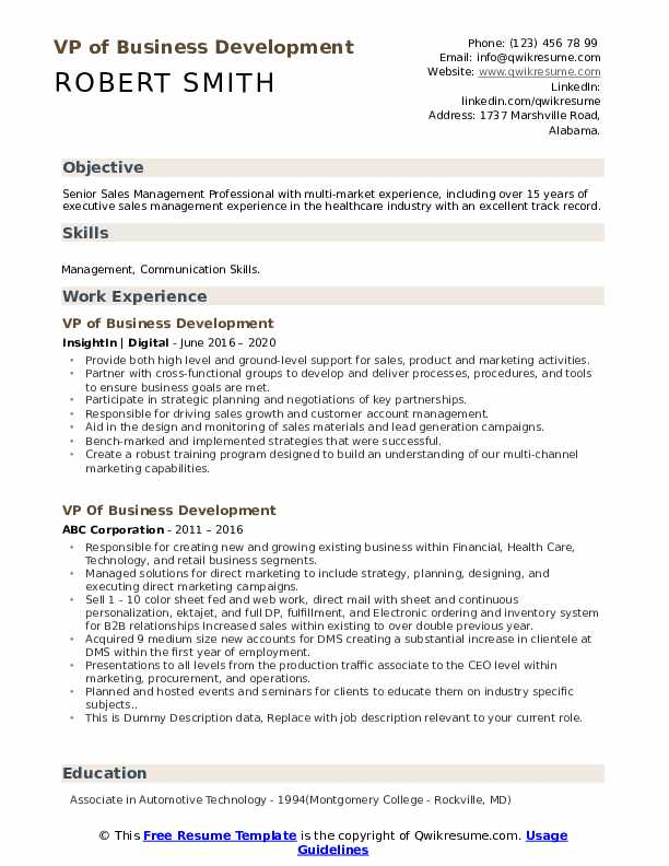 VP of Business Development Resume example