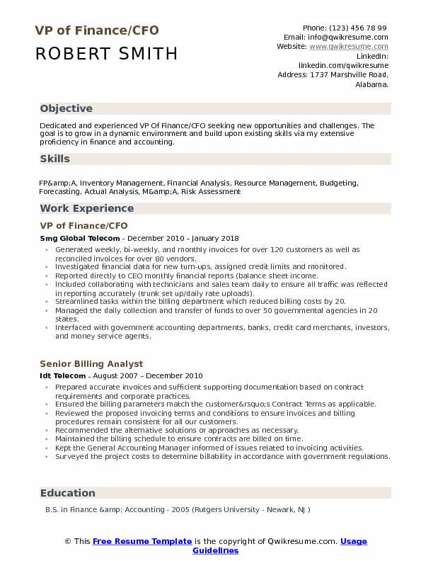 VP of Finance/CFO Resume Template
