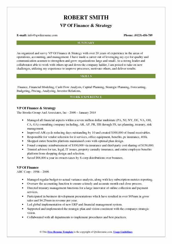 VP Of Finance & Strategy Resume Format