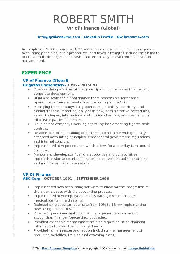 VP of Finance (Global) Resume Example