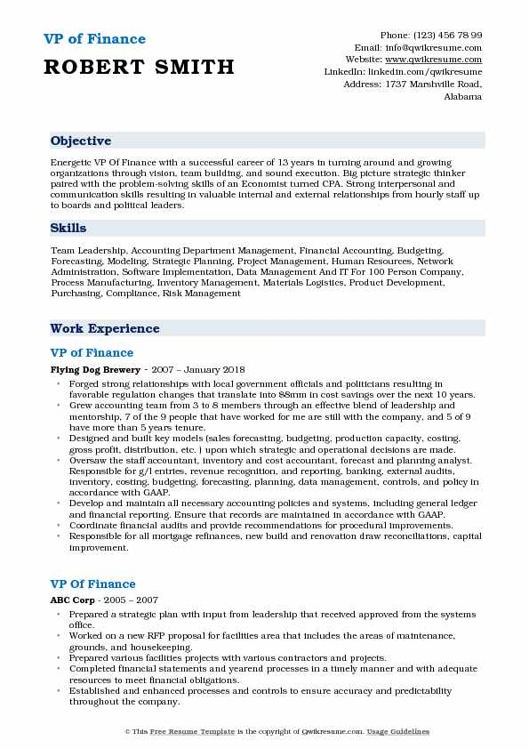 VP of Finance Resume Sample