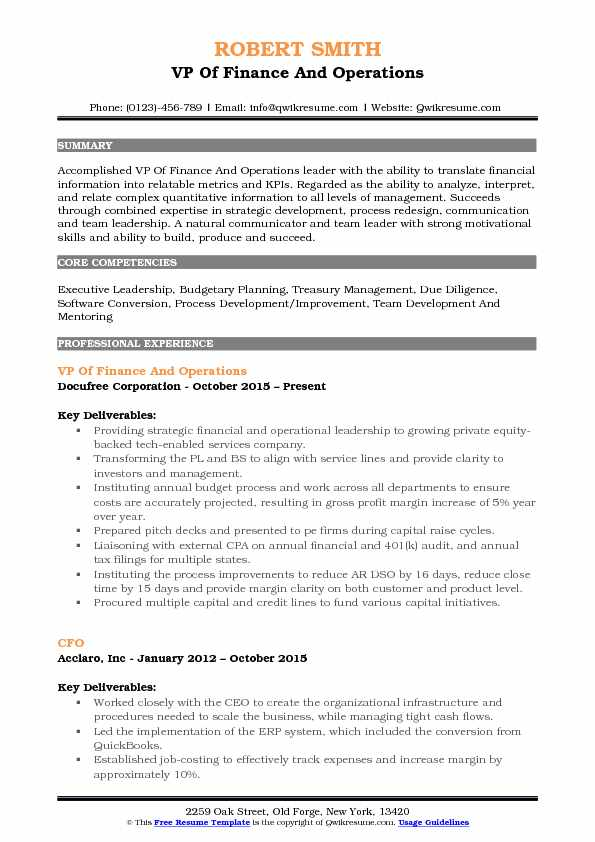 VP Of Finance And Operations Resume Format
