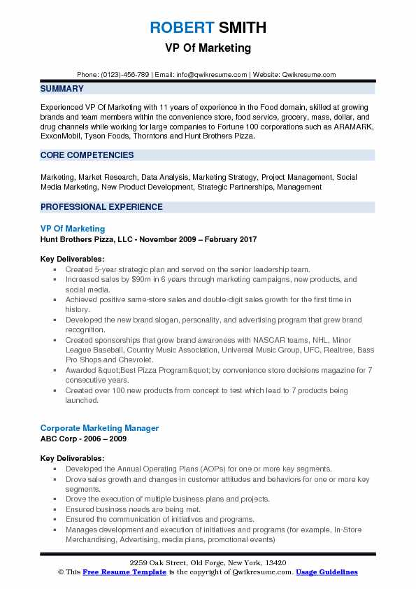 vp of marketing resume samples
