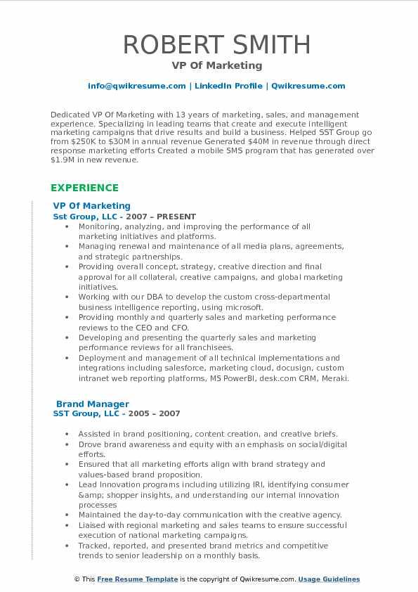 Vp Of Marketing Resume Samples Qwikresume