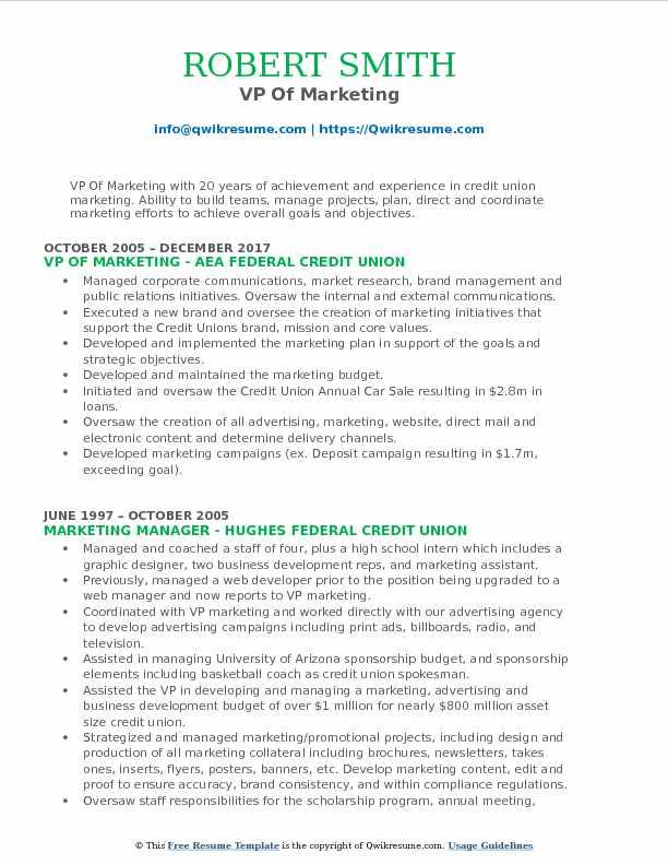 VP Of Marketing Resume Format