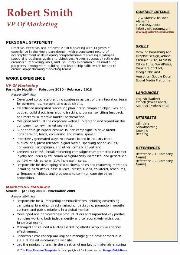 Vp Of Marketing Resume Samples Qwikresume