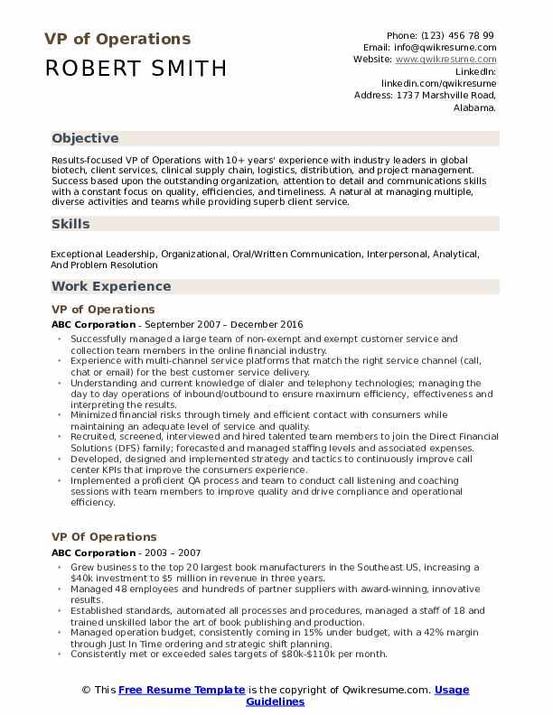 VP of Operations Resume Format