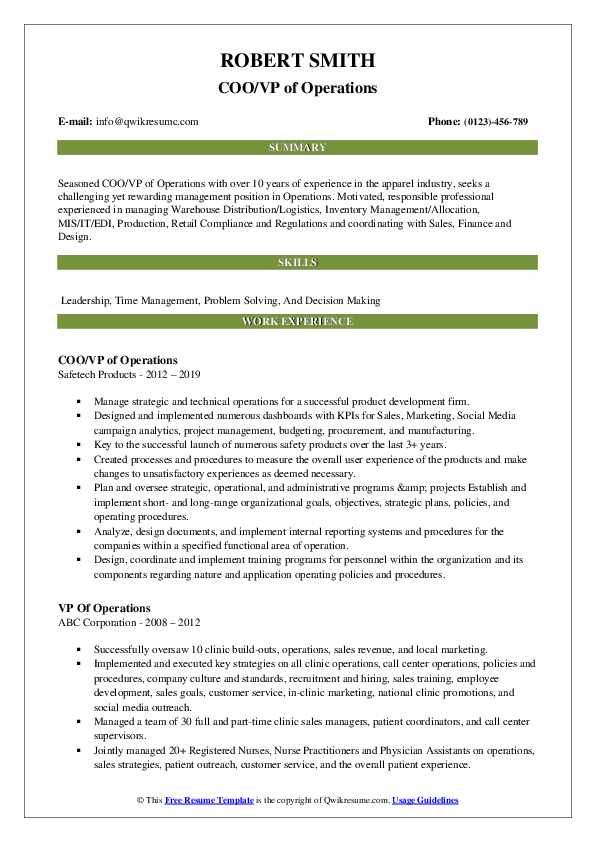 COO/VP of Operations Resume Template