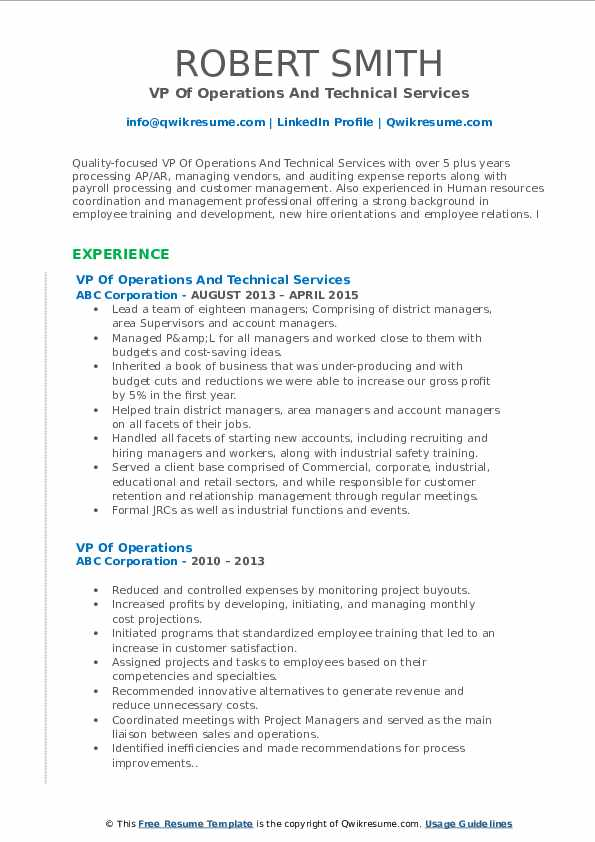 VP Of Operations And Technical Services Resume Model