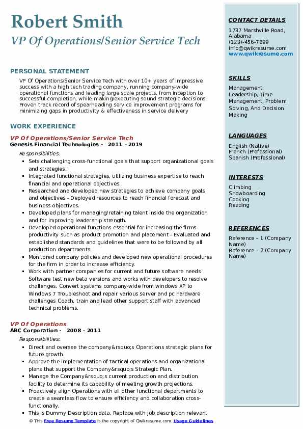 VP Of Operations/Senior Service Tech Resume Template