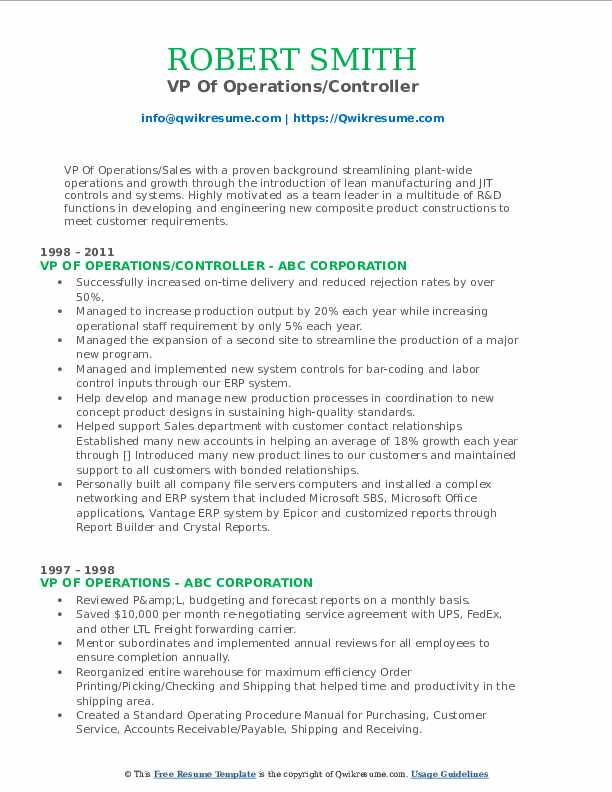 VP Of Operations/Controller Resume Template