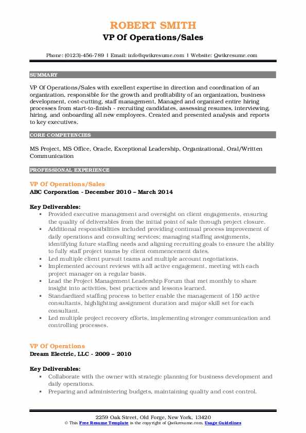 VP Of Operations/Sales Resume Example
