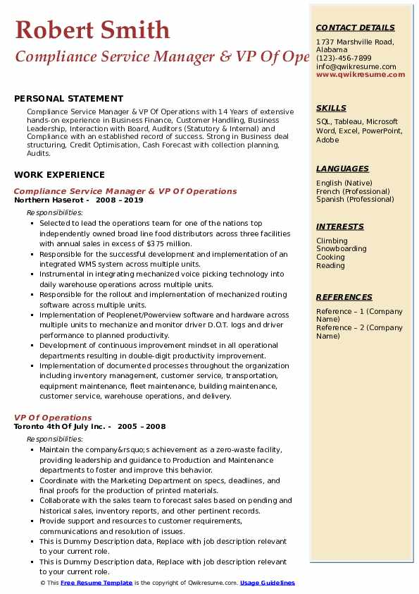 Compliance Service Manager & VP Of Operations Resume Example