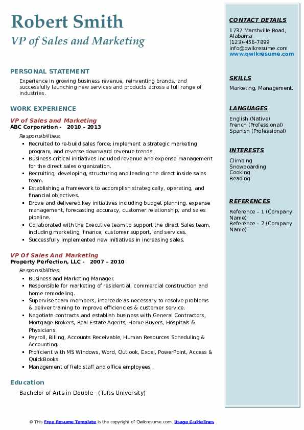 vp of sales and marketing resume samples