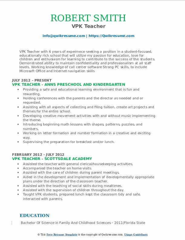 vpk teacher resume samples