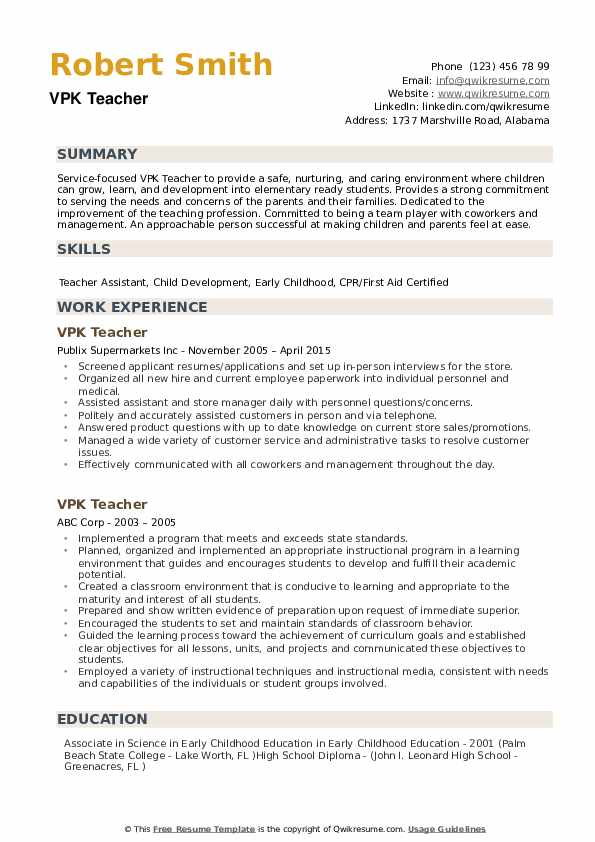 Vpk Teacher Resume Samples Qwikresume