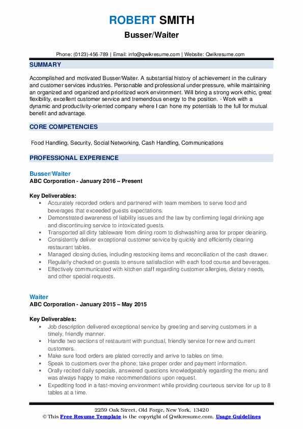 Busser/Waiter Resume Example