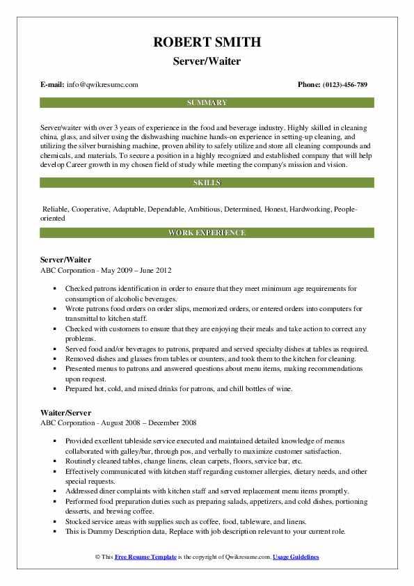 Server/Waiter Resume Format