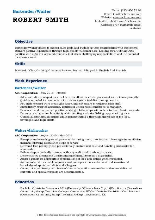 Bartender/Waiter Resume Format