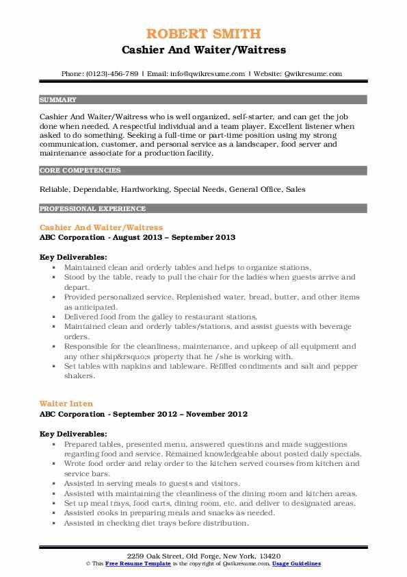 Cashier And Waiter/Waitress Resume Example