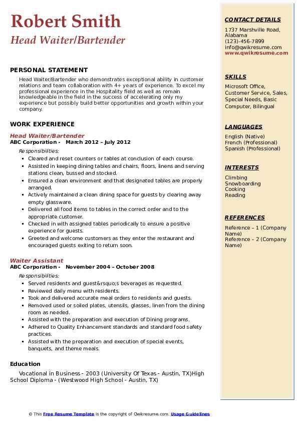 waiter resume samples