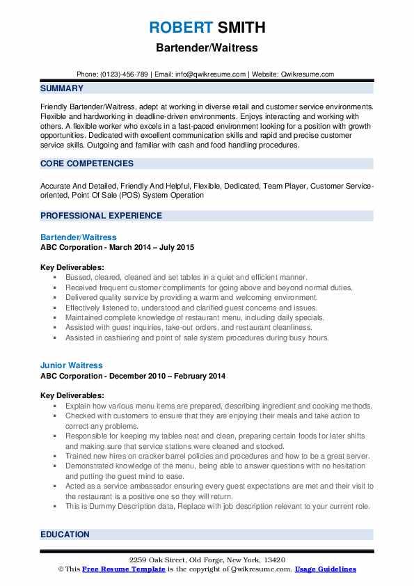 Bartender/Waitress Resume Format