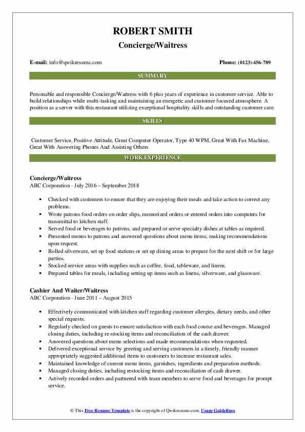 Concierge/Waitress Resume Template