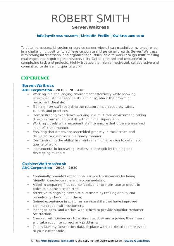 Server/Waitress Resume Model