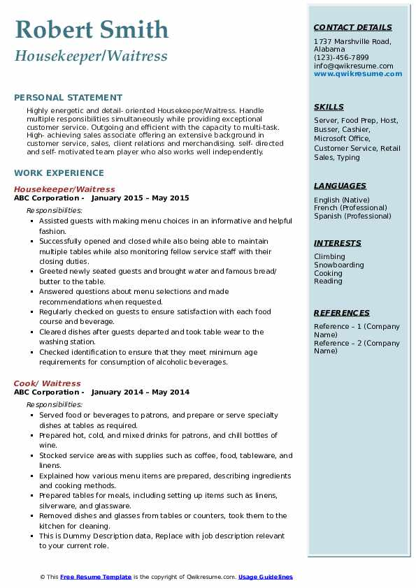 Housekeeper/Waitress Resume Format