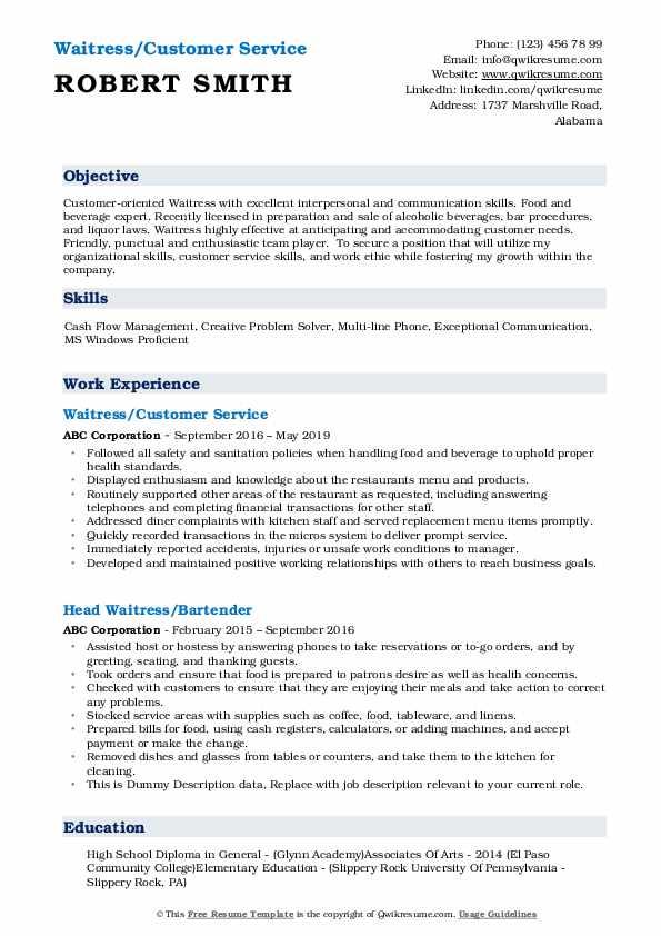 Waitress/Customer Service Resume Sample
