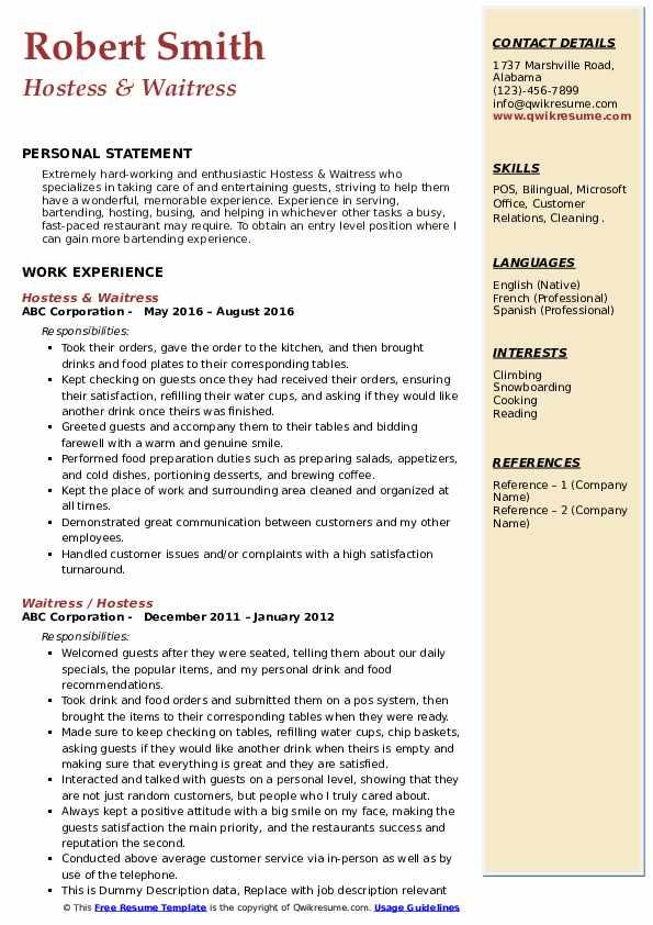 Hostess & Waitress Resume Example
