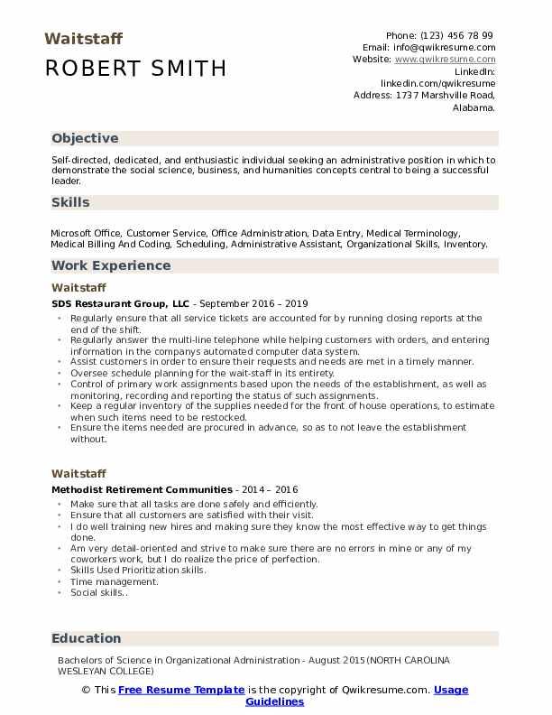 Waitstaff resume resume real estate developer