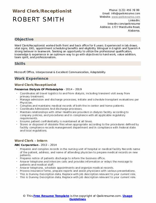 Ward Clerk/Receptionist Resume Example