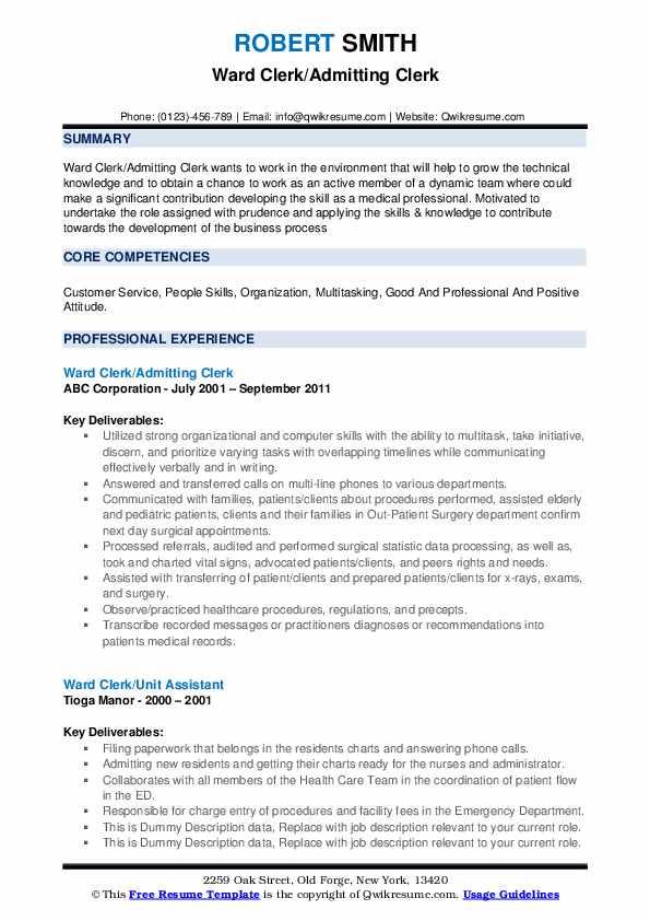 Ward Clerk/Admitting Clerk Resume Format