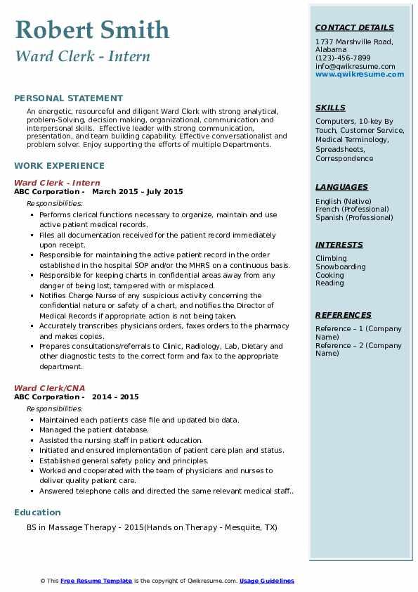 Ward Clerk - Intern Resume Sample