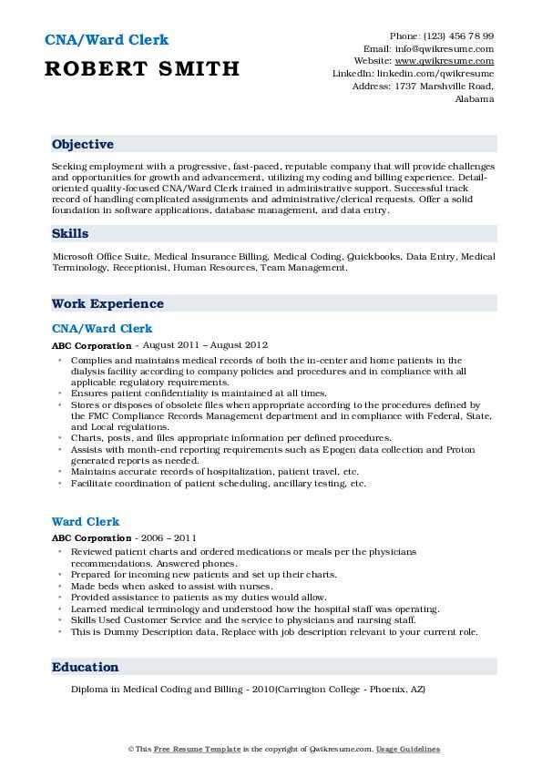 CNA/Ward Clerk Resume Model