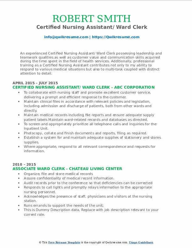 Certified Nursing Assistant/ Ward Clerk Resume Sample