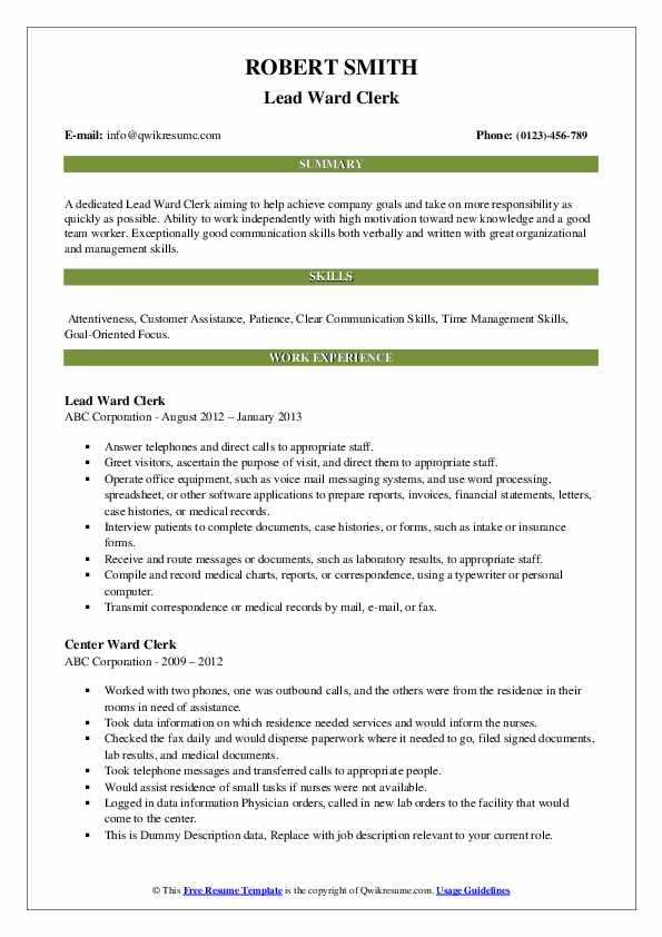 Jr. Insurance Clerk Resume Format