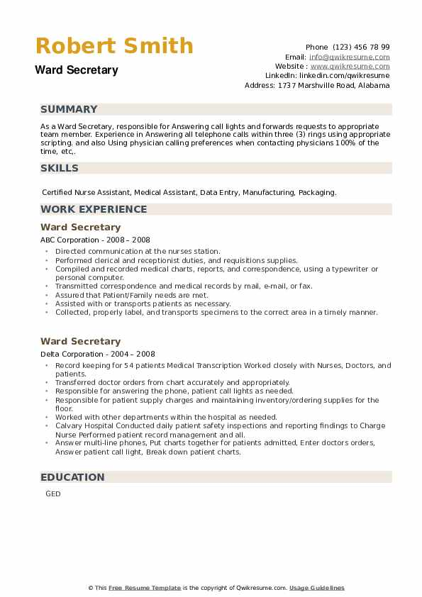 Ward Secretary Resume example