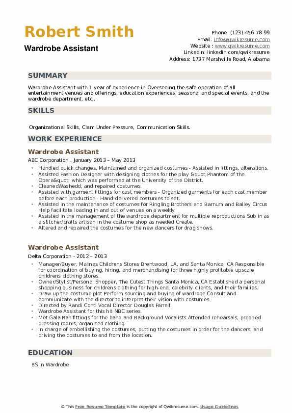 Wardrobe Assistant Resume example
