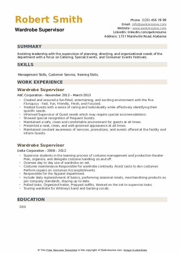 Wardrobe Supervisor Resume example