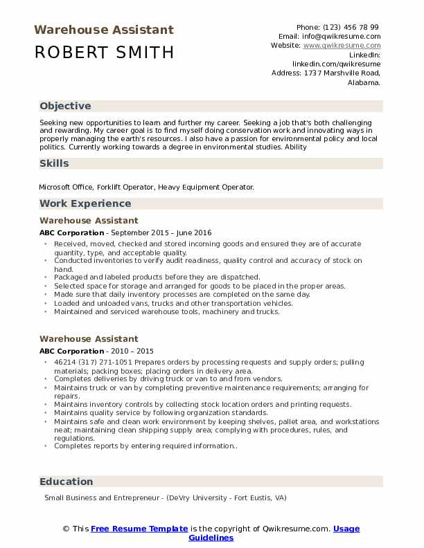 Warehouse Assistant Resume Format