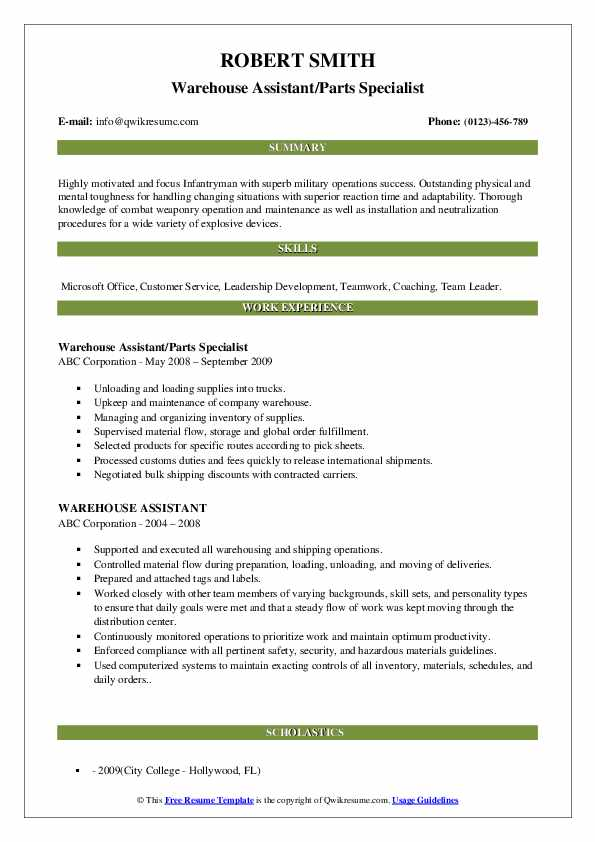 Warehouse Assistant/Parts Specialist Resume Sample