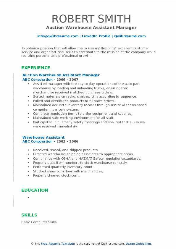 Auction Warehouse Assistant Manager Resume Template
